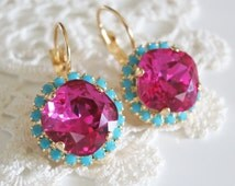 Pink Mint Earrings Hot Pink Bridal Earrings Crystal Earrings Modern Wedding Jewelry Swarovski Earrings Hot Pink Wedding Jewelry Prom Jewelry