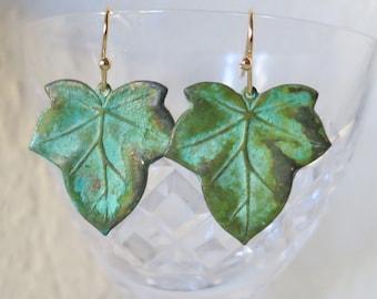 Green Leaf Earrings,Womans Gift,Verdigris patina Earrings brass Boho Earrings,Fall Jewelry,Leaf Jewelry Jewellery Nature Lover,Gift to Her