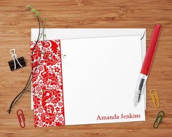 Amanda (Classic Baroque) - Set of 8 CUSTOM Personalized Flat Note Cards/ Stationery