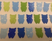 50  pc Paper Owl Stickers     Greens   Blues     Party    Reception    Shower