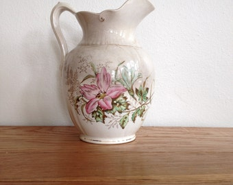 Floral Transferware Pitcher