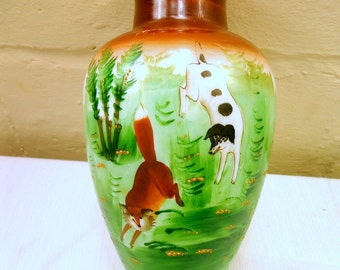 "Hand Painted Fox and Hound 1880's/1900""s Victorian Milk Glass Vase"