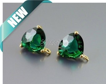 2 pcs / 1 pair emerald green color glass crystal earrings, easy DIY earrings for bridesmaids & brides 5133G-EM