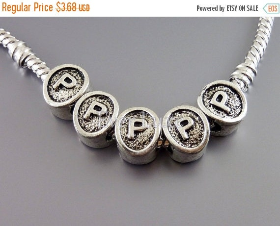 15% OFF 4 Initial P antiqued shiny silver initial charm beads, beads for European style bracelets, neckalces, jewelry supplies EB024-P (4 pi