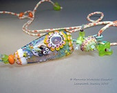 Artist handmade lampwork jewelry - Happy Bird, Pendant Necklace, Glass, Woven, Textile, Modern Art  - Glassartist Manuela Wutschke