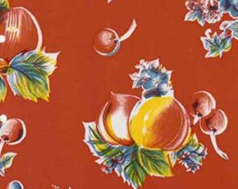 Red Pears and Apples Oilcloth Fabric