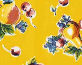 Yellow Pears and Apples Oilcloth Fabric