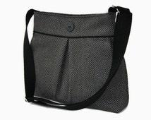 Gray Herringbone Crossbody Bag - Upholstery Fabric Pleated Purse  - Messenger Shoulder Bag - Gray Cross Body Purse - Gray Shoulder Bag