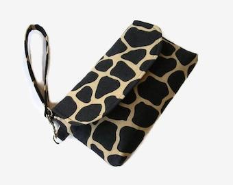 Black and Khaki Animal Print Wristlet - Black Smartphone Wristlet - iPhone Pouch - Removable Strap - Black Clutch