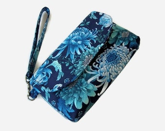 Blue Floral Cushioned Fabric Wristlet - Floral Print Phone Pouch - Small Blue Handbag - Fabric Wristlet - Removable Strap - Blue Clutch