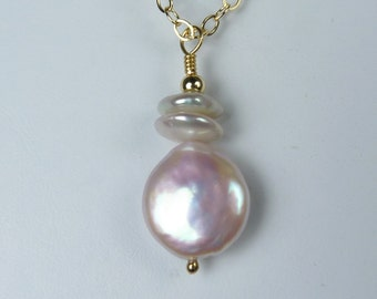 Coin and Keishi Pearl Necklace, Luminous Coin and Keishi Pearl Pendant, Lustrous and Glowing Natural Pink and Blush Color Pearls, Gold Chain