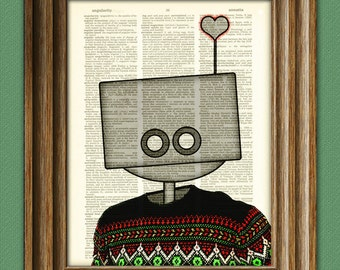 It's Ugly Sweater time for the Love Bot 3000 ROBOT geeky Christmas Day art print upcycled vintage dictionary page book art print