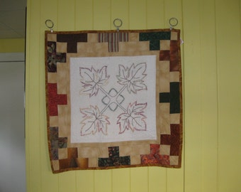 Hand Embroidered Leaf Wall Hanging or Table Topper