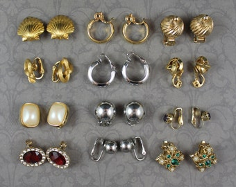 Lot of 12 Pairs of Vintage Gold and Silver Toned Metal, Pearl and Rhinestone Clip on Earrings