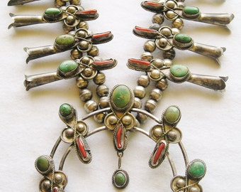 Navajo Sterling Silver Turquoise Branch Coral Squash Blossom Necklace