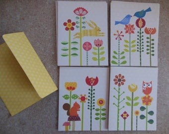 Box of Notecards, 4 Designs--Bluebirds, Owl, Squirrel, and Rabbit, Blank Cards