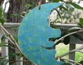 Metal garden art moon sculpture reclaimed metal garden stake aqua blue