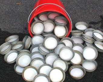 Zinc Lids w Milk Glass Liners for Ball / Mason Canning Jars Lot of 4