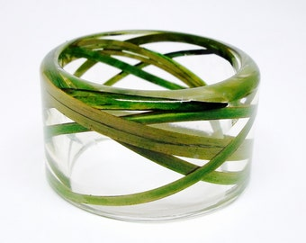 Size Large Wild Grass Resin Jewelry.  Botanical Resin Bracelet. Personalized with Engraving.