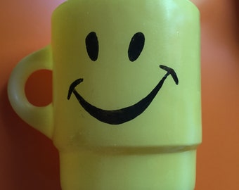 Vintage Fire King Yellow Happy Smiley Face Stackable Coffee Mug