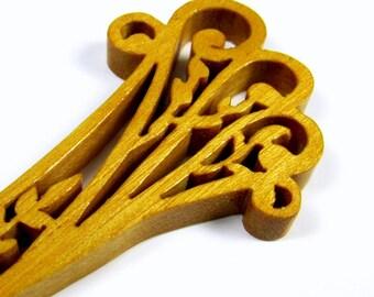 Letter Opener / Ornate Leaf Design / Exotic Yellow Heart Wood