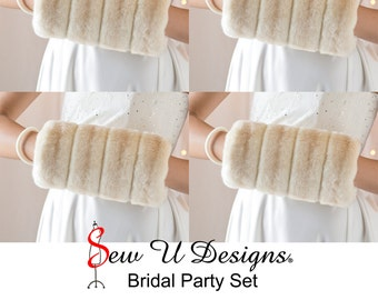 Winter wedding Bridal party set FOUR regular size faux fur muffs Created from SPECIALTY faux furs