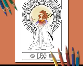 One Adult Coloring Page, Zodiac Art, Leo, Printable Adult Coloring Pages, Coloring Pages for Adults, Fairy Coloring Pages, Fantasy