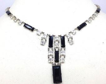 Beautiful French Art Deco Open Back Black Clear Crystal Sterling Silver Vintage Necklace Art Deco Jewelry