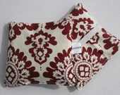 Lavender Scented Hand Warmers - Burgundy and Cream Damask