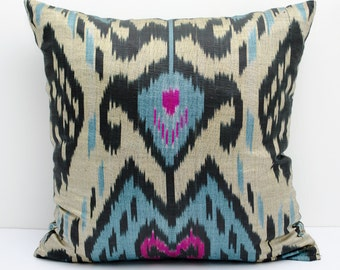14x14 Beige blue black pink ikat pillow cover, cushion case, ikat, blue ikat pillow cover,  eco textile, handmade ikat, blue beige, pink