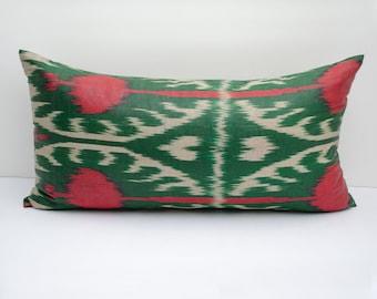 20x12 lumbar red green beige long ikat pillow cover, ikat pillow case, ikat lumbar size, green ikat, red green beige pillows