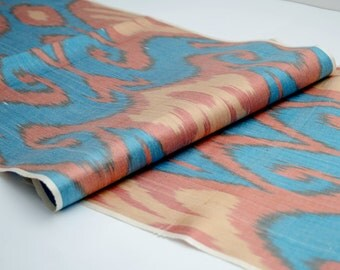 blue ikat fabric, ikat fabric by the yard, coral blue, table runner, upholstery fabric. blue