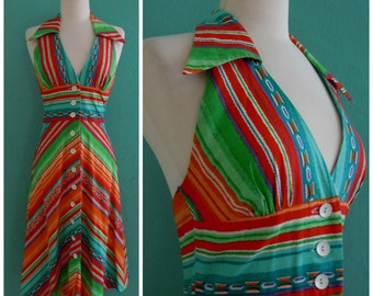 70's rainbow halterdress ~ pointed collar dress ~small medium