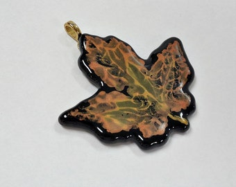 Fall maple leaf pendant  fused glass black, copper and gold