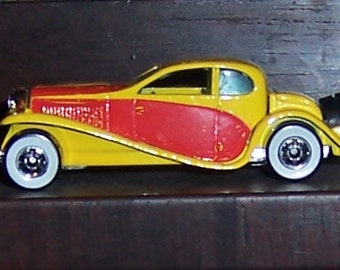 Hot Wheels 1937 Bugatti Hot Rod, Diecast Metal, Mattel, Inc., Malaysia 1980, Yellow, Red and Silver Collectible Car