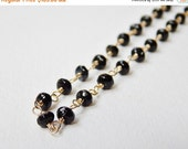 Black Tourmaline Necklace - Gold Filled Beaded Rosary Necklace Faceted Tourmalines Beadwork Necklace
