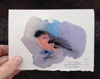winter time, foggy bullfinch and a chick, watercolor and pencil set of postcards