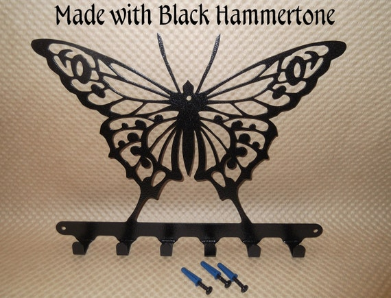 Butterfly, Butterflies, Butterfly key holder, Iron Butterfly, key rack, key hook, wall art, Kitchen decor, Wall decor, Black Hammertone
