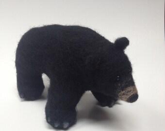 Black Bear Needle Felt Animal Soft Sculpture Miniature Totem Spiritual Gift