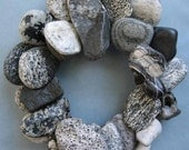 Gray Black and White Rock Wreath or Candle or Pot Ring -RW337