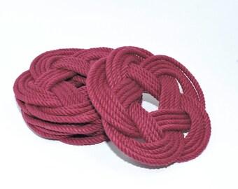 Burgundy Nautical Coasters  Woven Turk's Head Coasters Set of 4 knot coasters 100% cotton