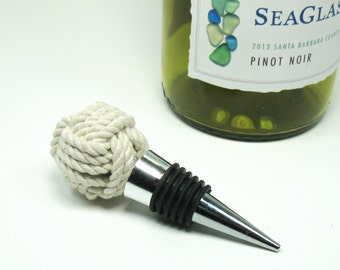 Nautical Wine Stopper Monkey Fist Knot Bottle Stopper Natural White Stopper
