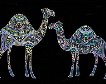 Instant Download Printable Art. Camel was wearing a Mandala.