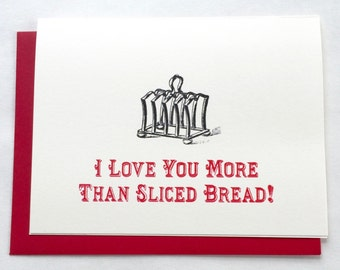 I Love You More than Sliced Bread Card / I Love You Card / Valentine's Day Vintage Card / Food Pun Card / Happy Valentine's Day Card