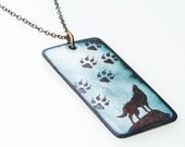 Wolf Necklace. Howling Wolf and Paw Prints on Green Enamel Pendant on Brass Chain Necklace. Animal Necklace. Vitreous Enamel Jewelry.