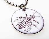 Bee Necklace. Honey Bee on White Enamel Circle Pendant on Stainless Steel Ball Chain Necklace. Vitreous Enamel Jewelry