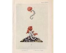 1907 ANTIQUE SEA LIFE lithograph - original antique print - sea life marine beach ocean - serpula