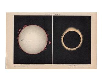 1903 ANTIQUE SUN LITHOGRAPH sun corona protuberances rare original antique celestial astronomy print