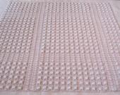 "Morgan Jones White on Pink Rosebud Vintage Chenille Bedspread Fabric 27""x 27"""