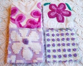 """Purples and White Plush Flowers  6"""" Square Assortment of Vintage Chenille Bedspread Fabrics (25)"""
